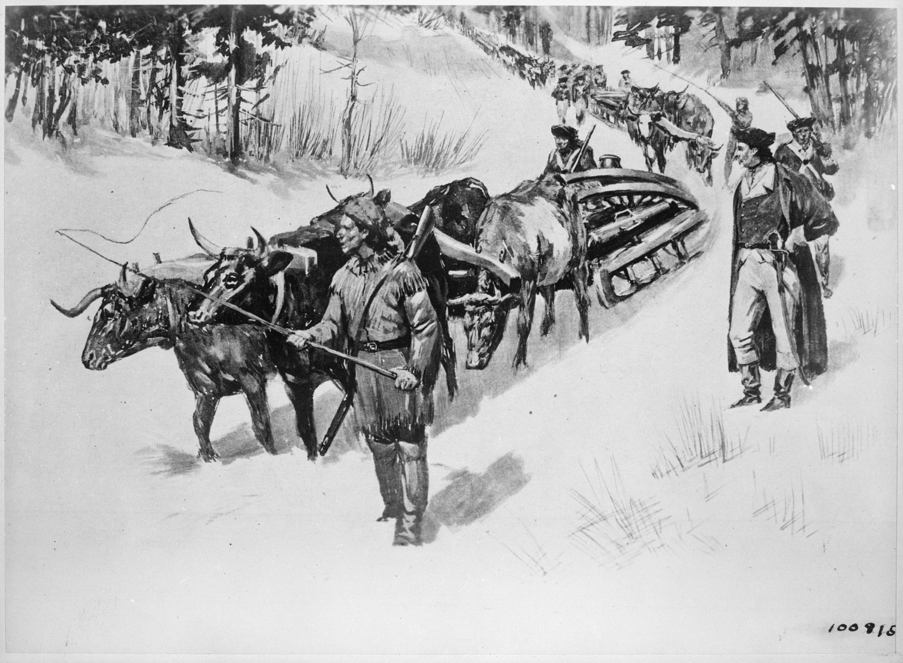 File:Hauling guns by ox teams from Fort Ticonderoga for ...