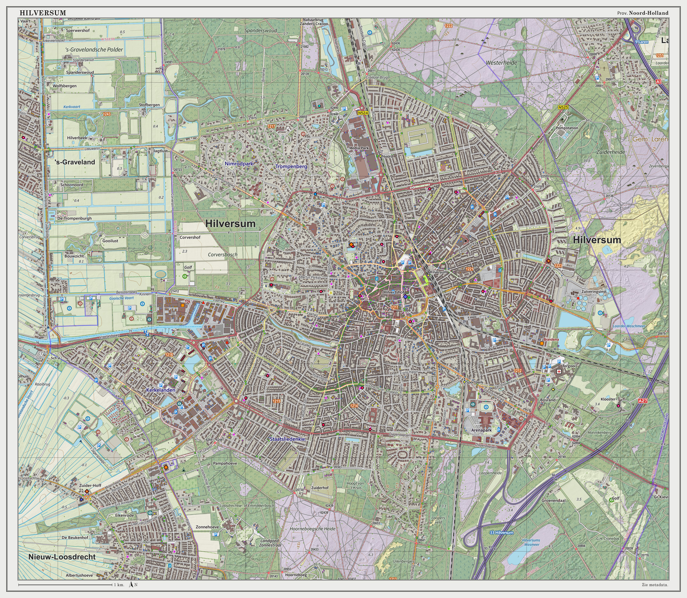Dutch Topographic map of Hilversum (town), March 2014
