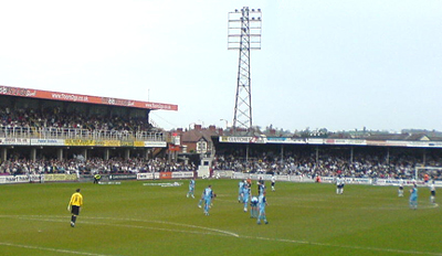 Edgar Street is the home ground of Hereford F.C., the successors to Hereford United, the only club from the county to have ever played in The Football League. Hufc-lwme.jpg