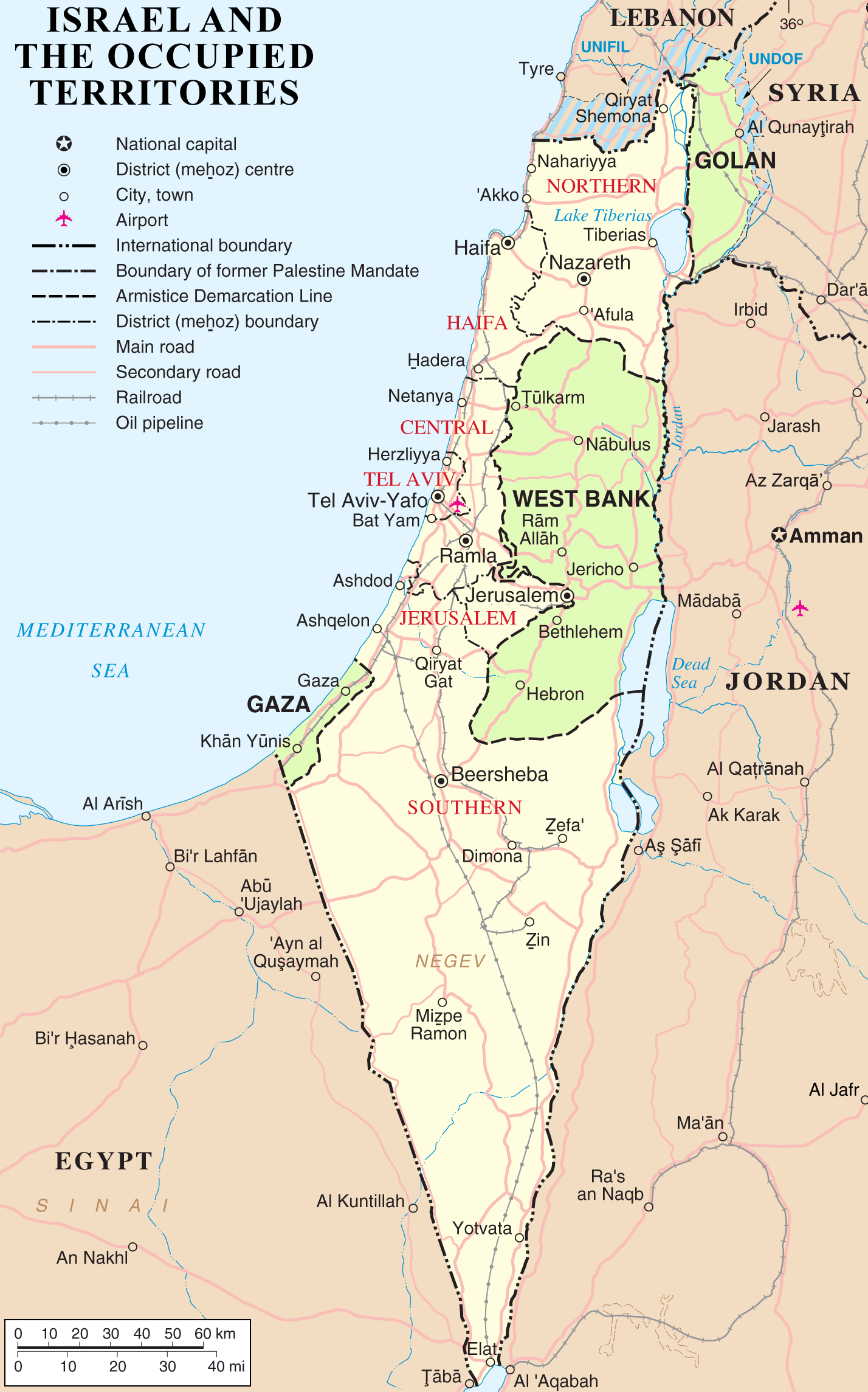 English: Map of Israel, the Palestinian territ...