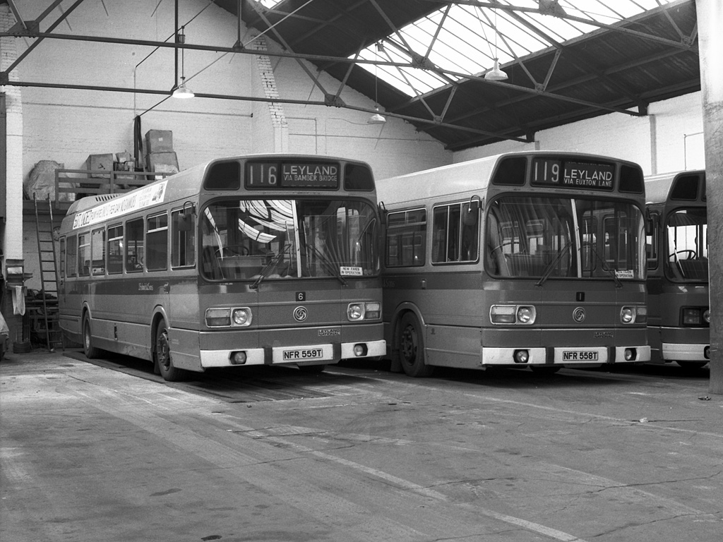 David Fishwick >> File:John Fishwick and Sons buses 1 and 6 Leyland Nationals NFR 559T and NFR 558T in Leyland ...