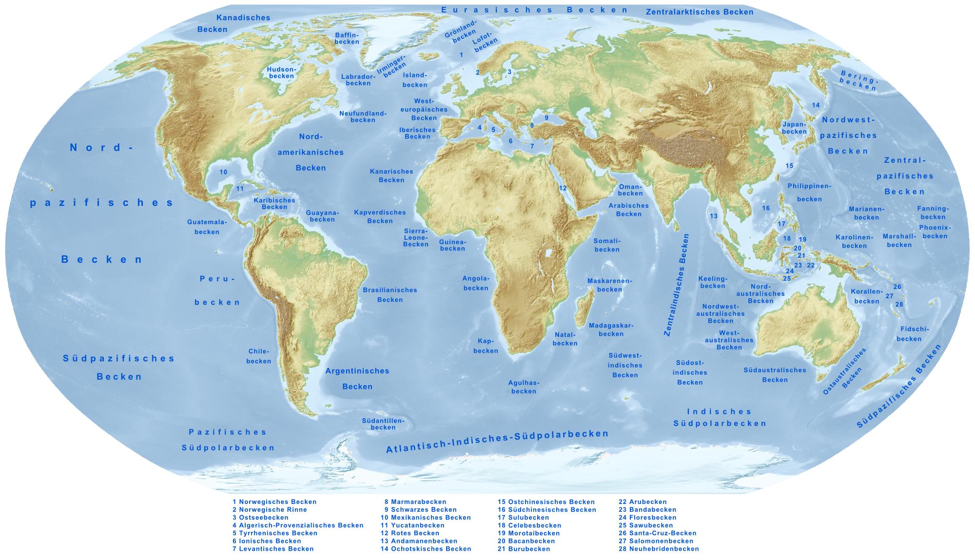 Nordpolarmeer Karte.Liste Der Meerestiefs Wikipedia