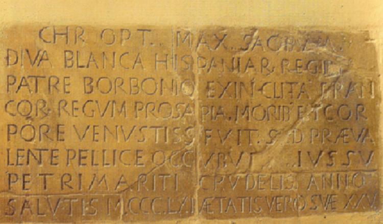 http://upload.wikimedia.org/wikipedia/commons/f/f5/L%C3%A1pida_sepulcral_de_la_reina_Do%C3%B1a_Blanca_de_Borb%C3%B3n,_esposa_de_Pedro_I_el_Cruel,_rey_de_Castilla_y_Le%C3%B3n._Convento_de_San_Francisco_de_Jerez_de_la_Frontera_(C%C3%A1diz).jpg