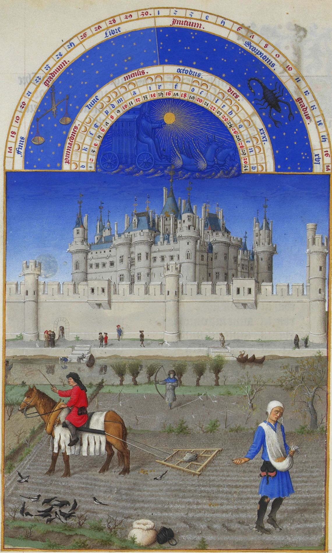 """Limbourg Brothers, """"The Book of Hours."""" Sowing of winter crops."""