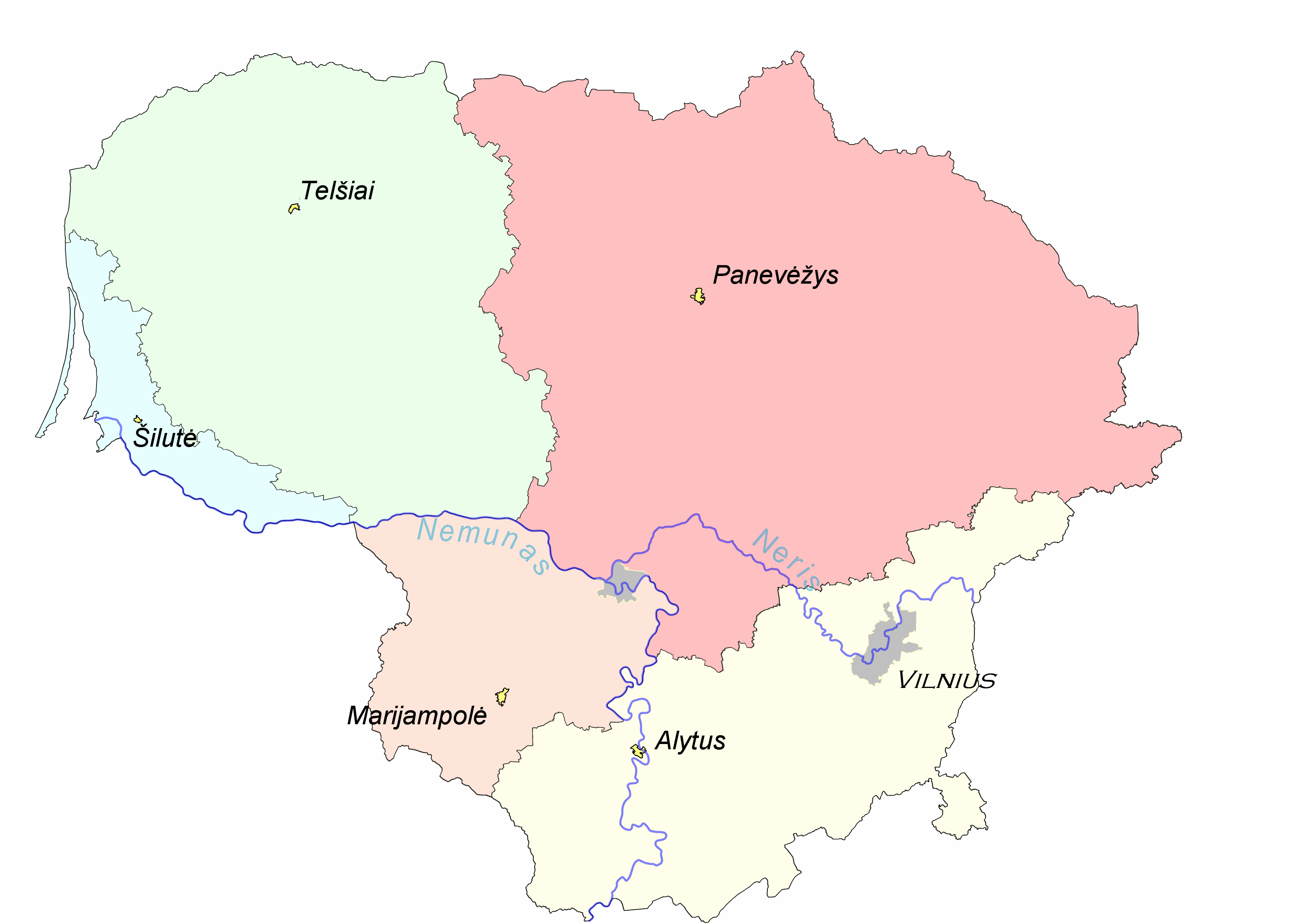 Liet etno regionaipng Ethnographic map Atlas of Lithuania