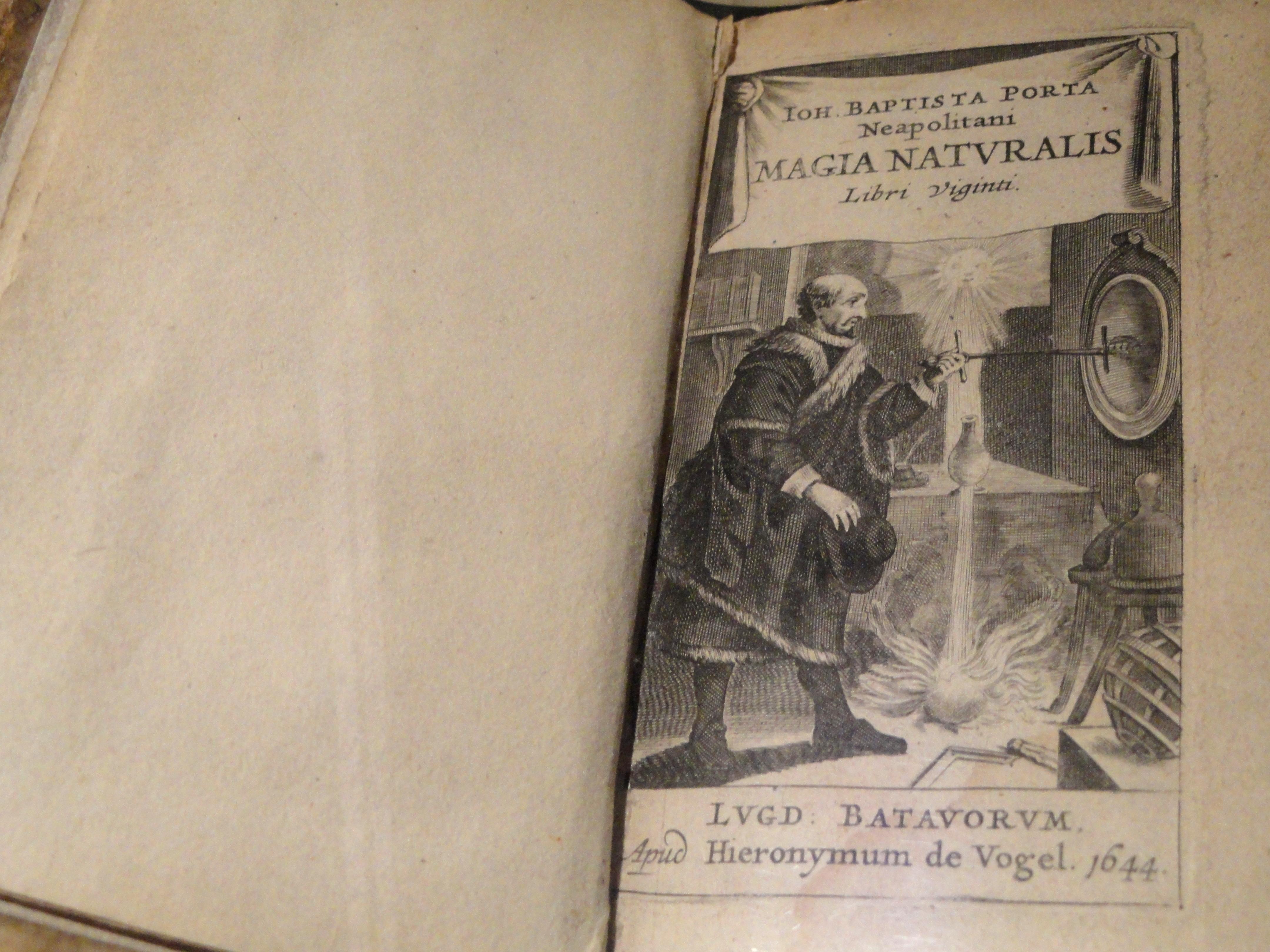 Magia Naturalis.  Giambattista de la Porta Magia_Naturalis,_by_Giovanni_Battista_Porta,_first_published_1558,_this_edition_1644_-_National_Cryptologic_Museum_-_DSC07744
