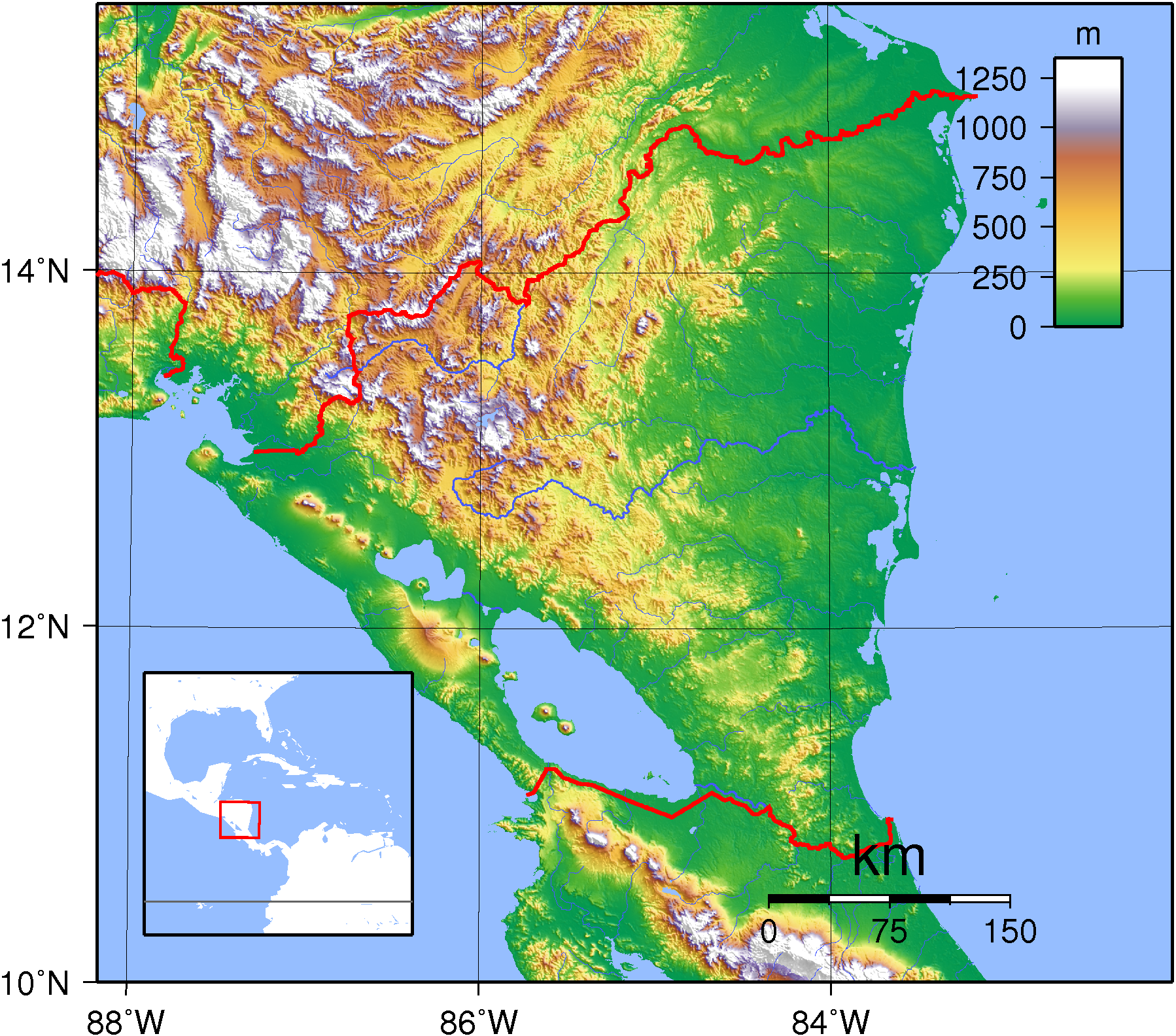 Topographical Map Of Nicaragua Topographic Map - Map of nicaragua