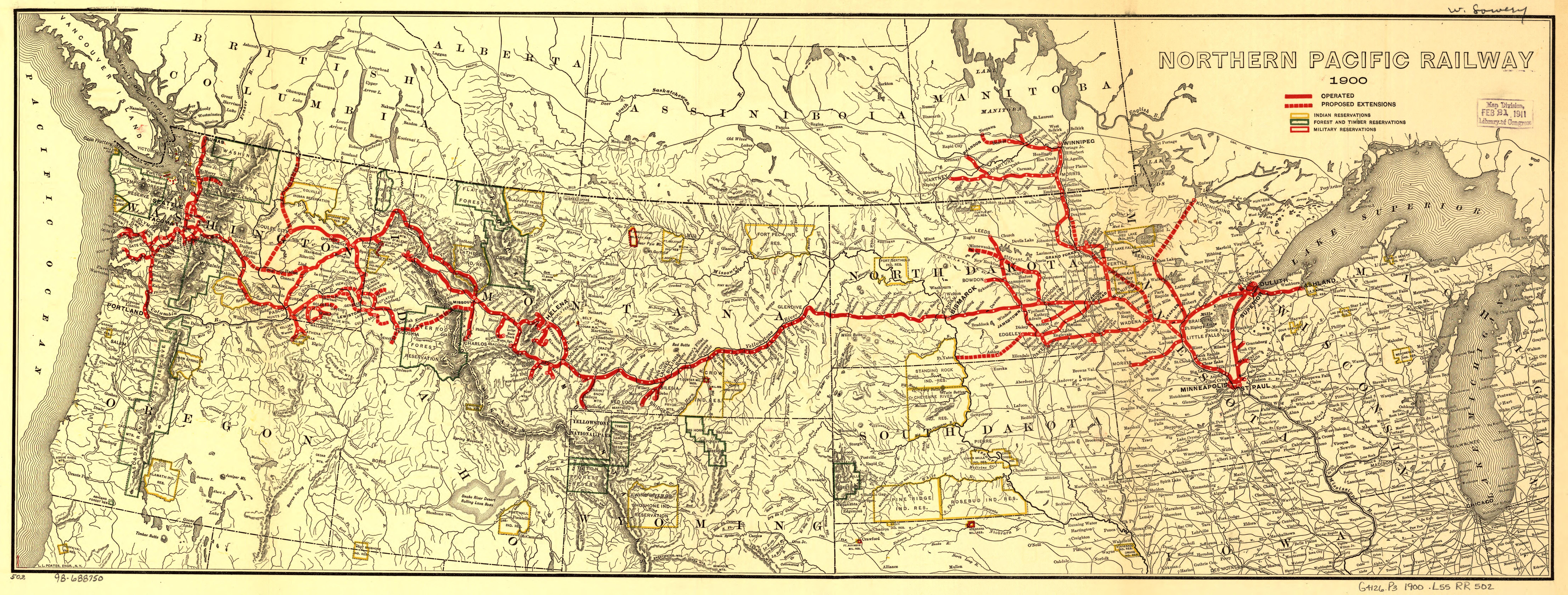 Description northern pacific railroad map circa 1900