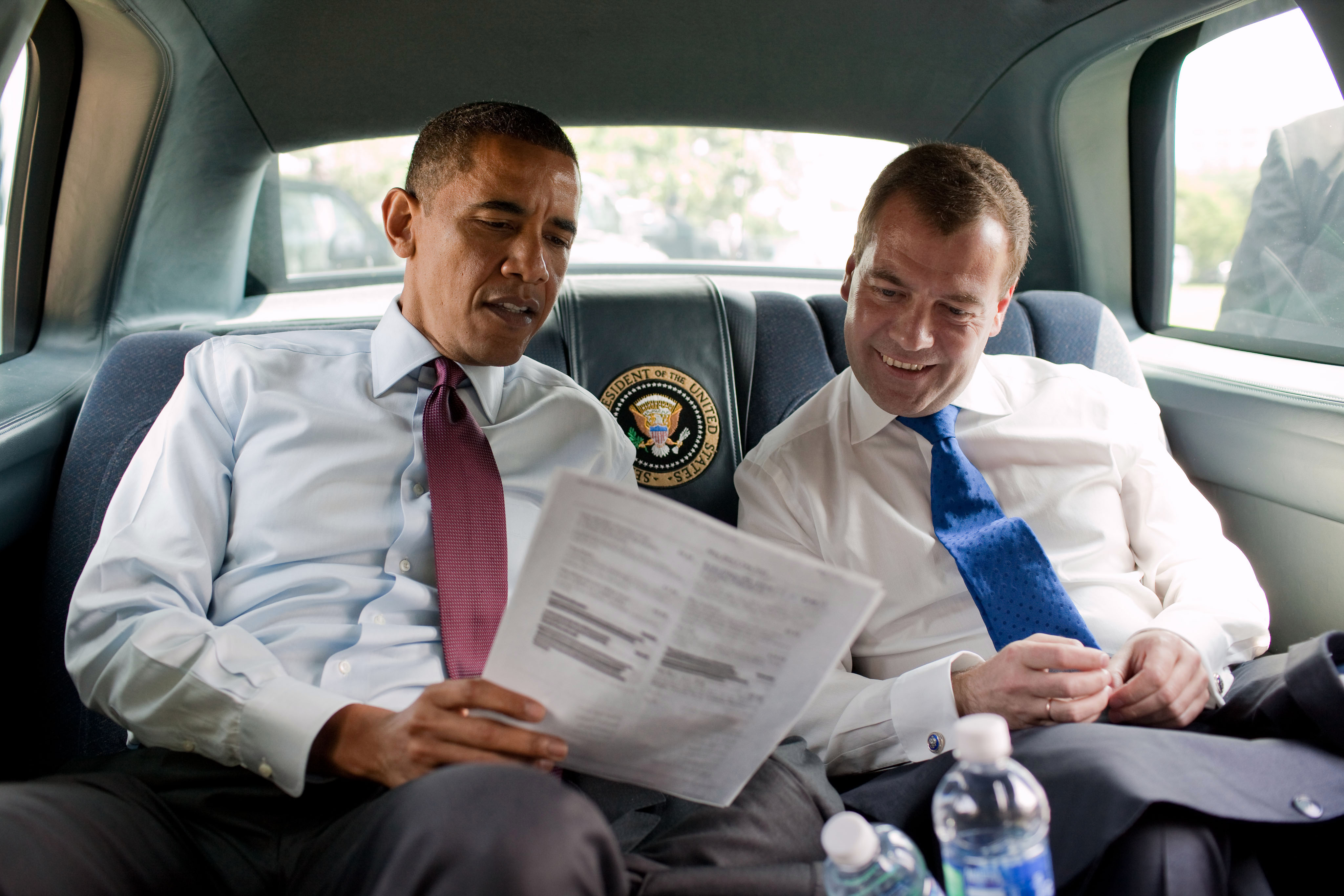 File:Obama and Medvedev look at the menu.jpg - Wikimedia Commons