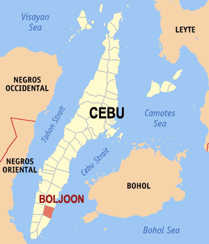 Map of Cebu showing the location of Boljoon