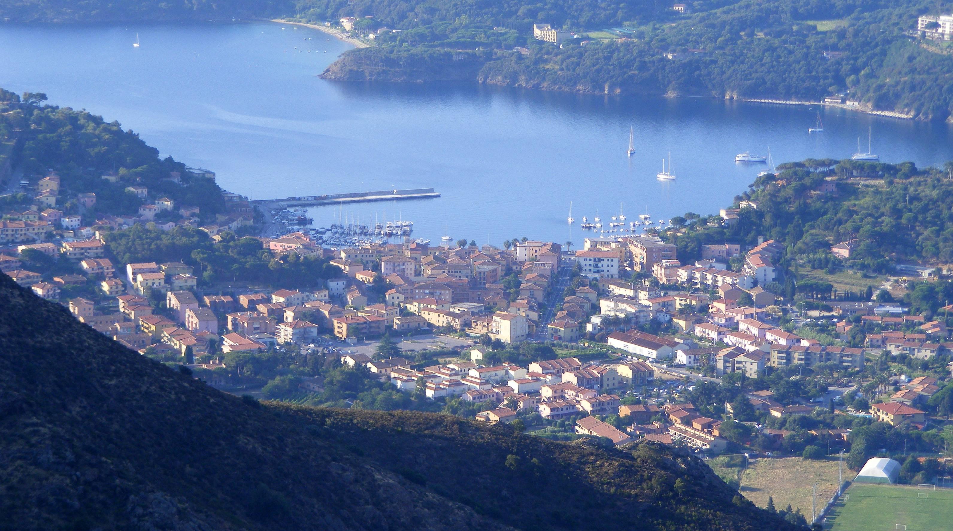 Porto Azzurro Italy  City new picture : Porto azzurro da monte castello Wikimedia Commons