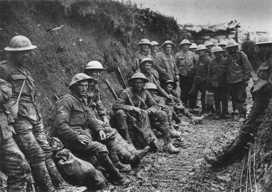 British soldiers in a communications trench on the first day on the Battle of Somme, 1916. (Wikimedia Commons)