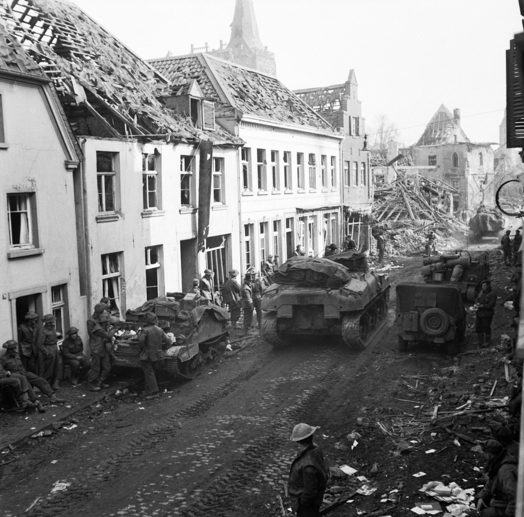 43rd Wessex Division troops in the main street of Xanten