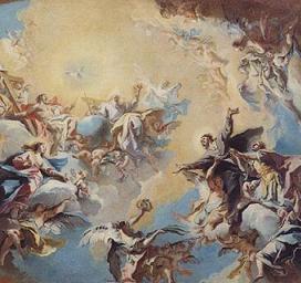 Carlo Innocenzo Carlone (1686-1775): De hellige Felix' og Adauctus' forherligelse, utkast til takmaleri i kuppelen i kirken San Felice del Benaco ved Gardasjøen, privat eie