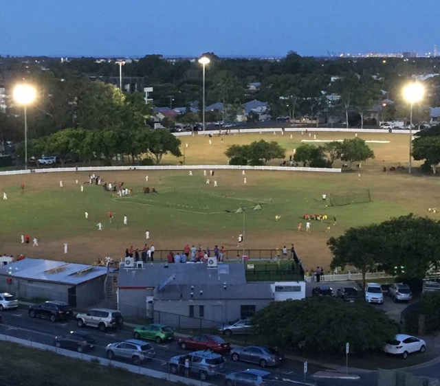 Toombul District Cricket Club With LaFrantz Oval In The Background Ken Mackay Foreground And Yard Bar Rooftop Overlooking Field