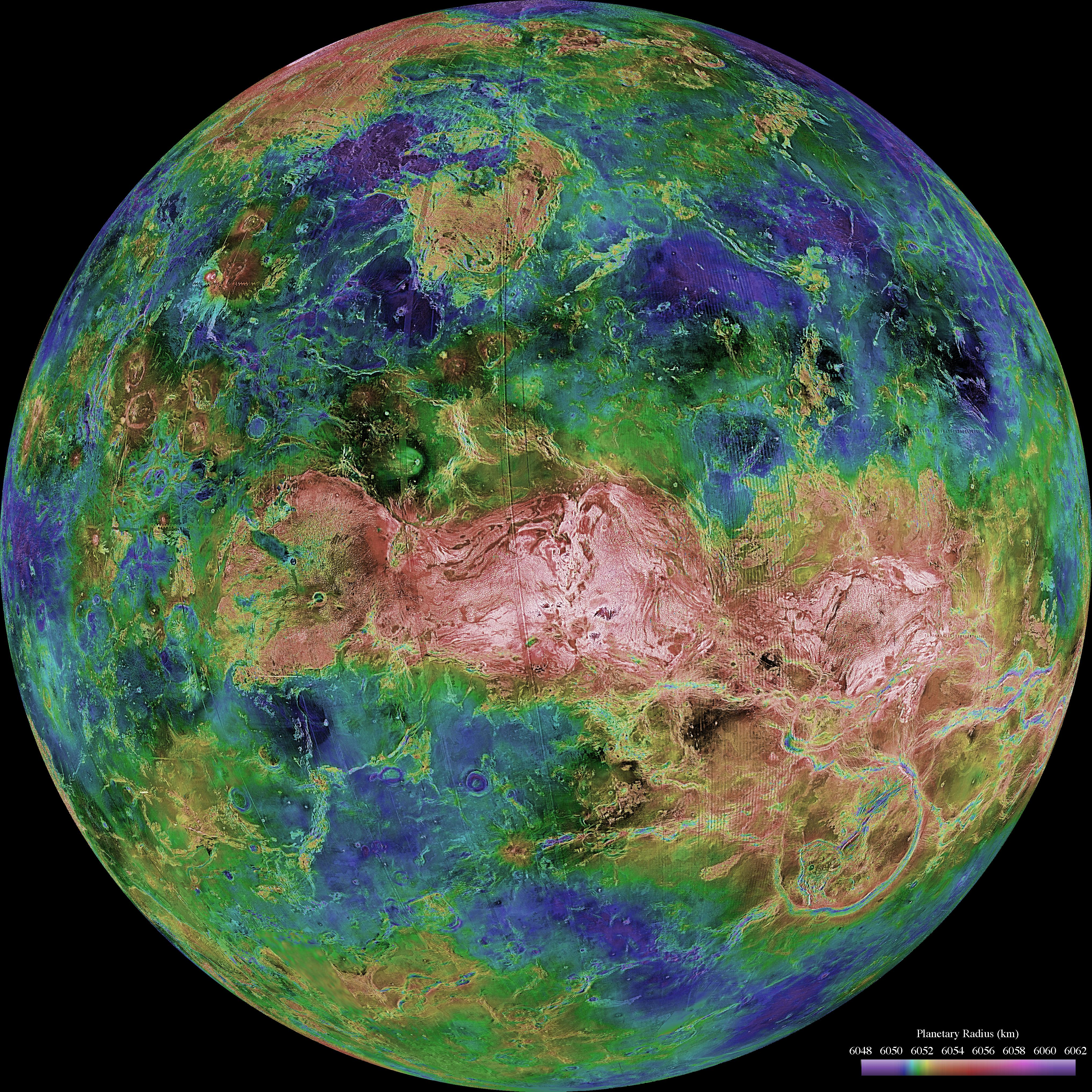 A topographical map of Venus, image courtesy of NASA/JPL/USGS