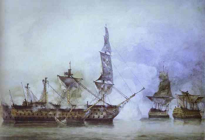 HMS Victory después de la batalla de Trafalgar.