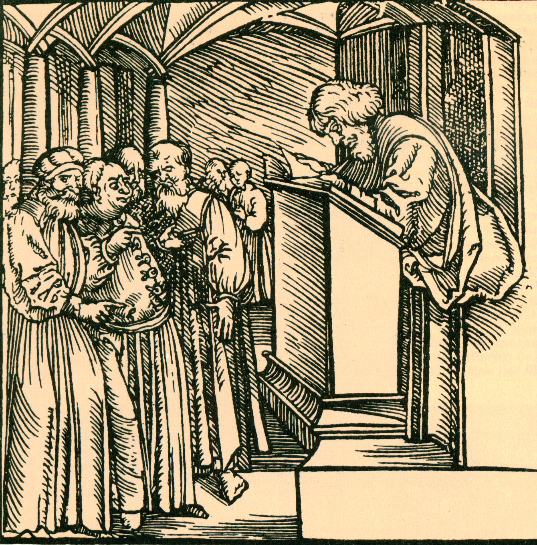 Scholastic disputation, XIV century.
