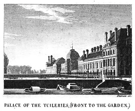 The Tuileries Palace, located deep in the city beside the Seine River, was a dark and uncomfortable residence for the royal family. 1822 Tuileries Paris.png