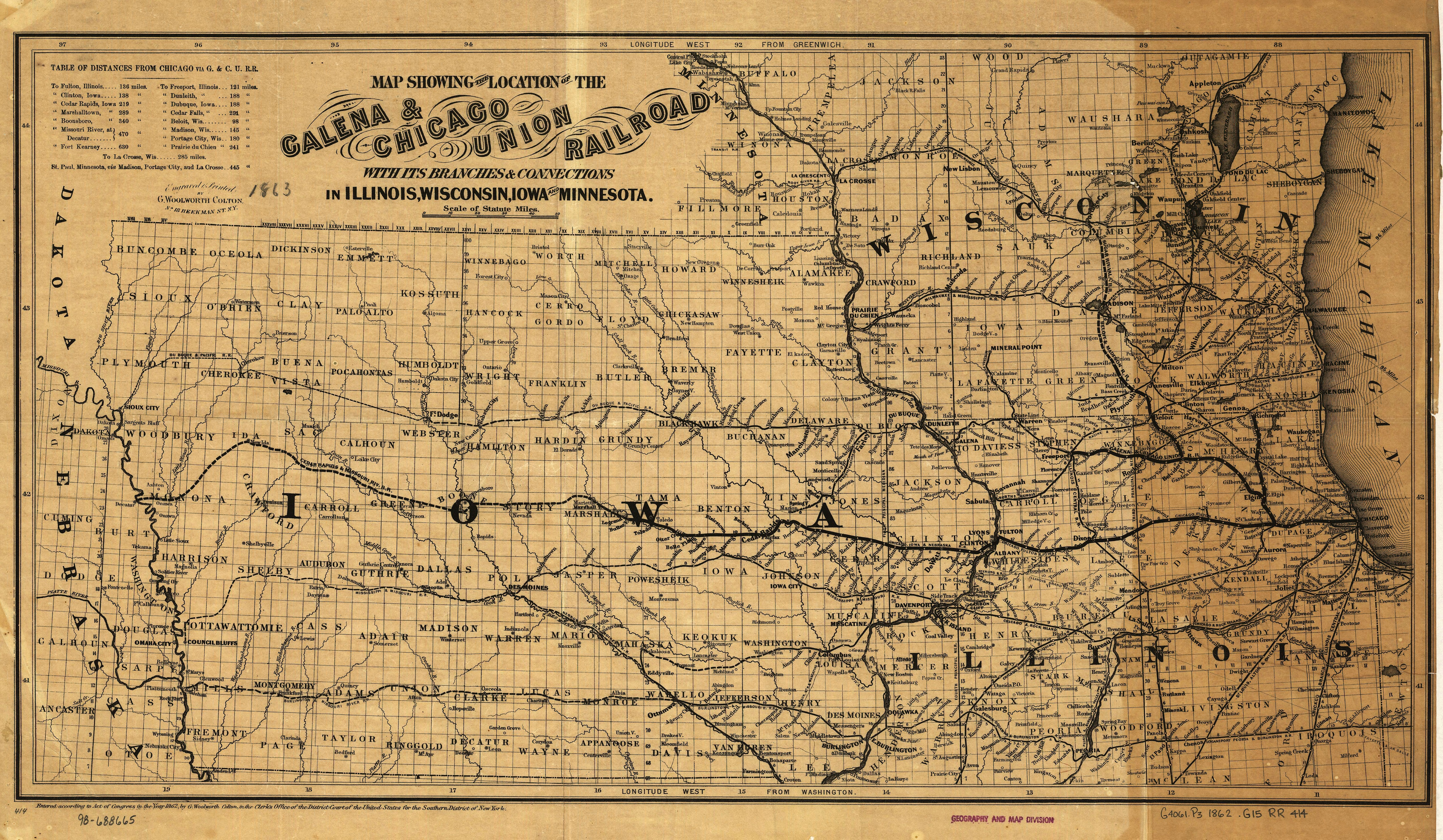 Galena and Chicago Union Railroad - Wikiwand on great northern railroad map, louisiana & arkansas railroad map, chicago, burlington and quincy railroad map, chicago & northwestern railroad map, santa fe railroad map, rock island railroad map, railroad tracks in colorado map, kansas city southern railroad map, ohio railroad map, wabash railroad map, burlington northern railroad map, soo line railroad map, amtrak map, norfolk southern railroad map, illinois railway museum map, current united states railroad map, indiana harbor belt railroad map, new york central railroad map, b&o railroad map, galena and chicago union railroad map,