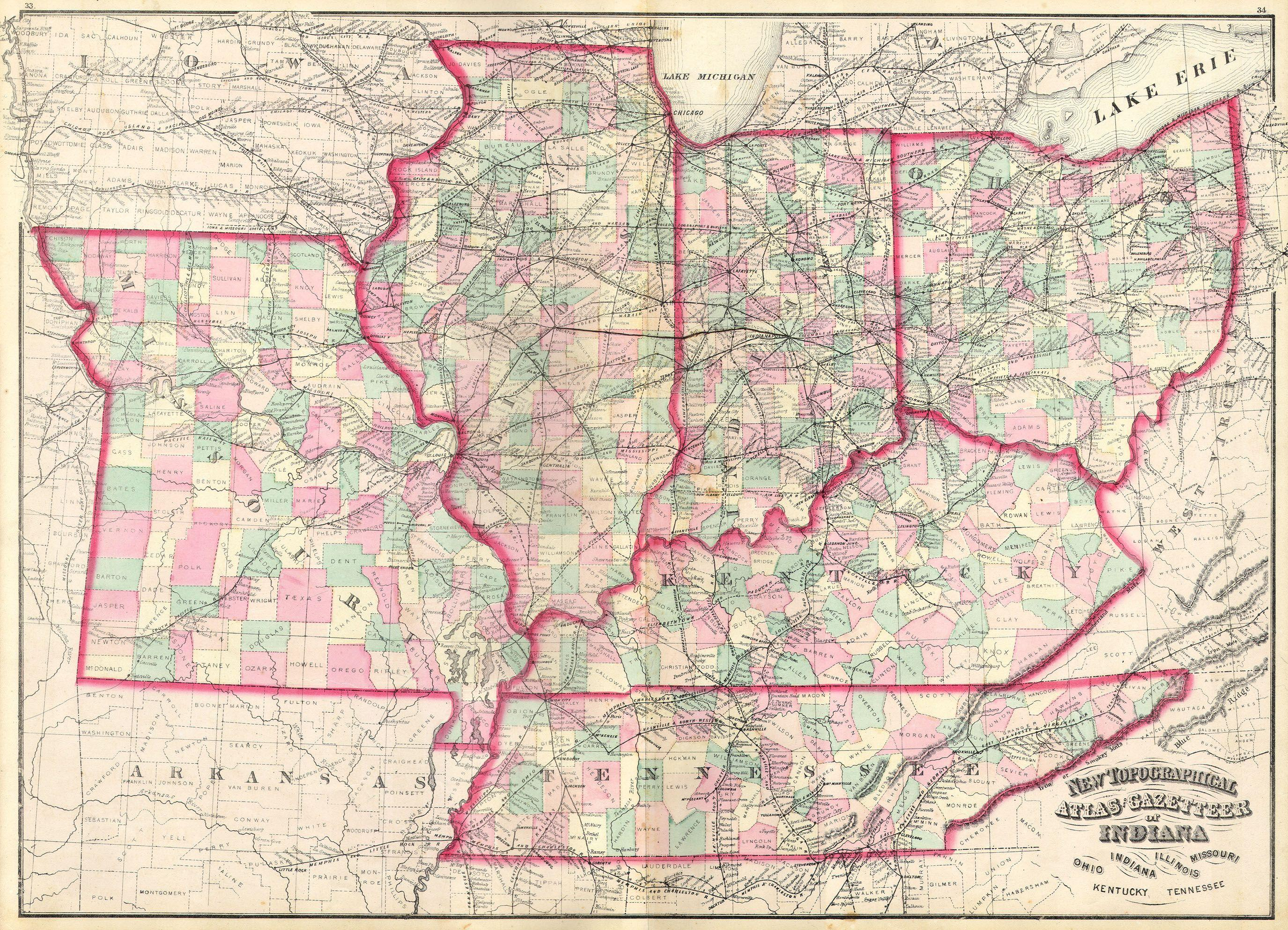 File1873 Asher Adams Map Of The Midwest  Ohio Indiana