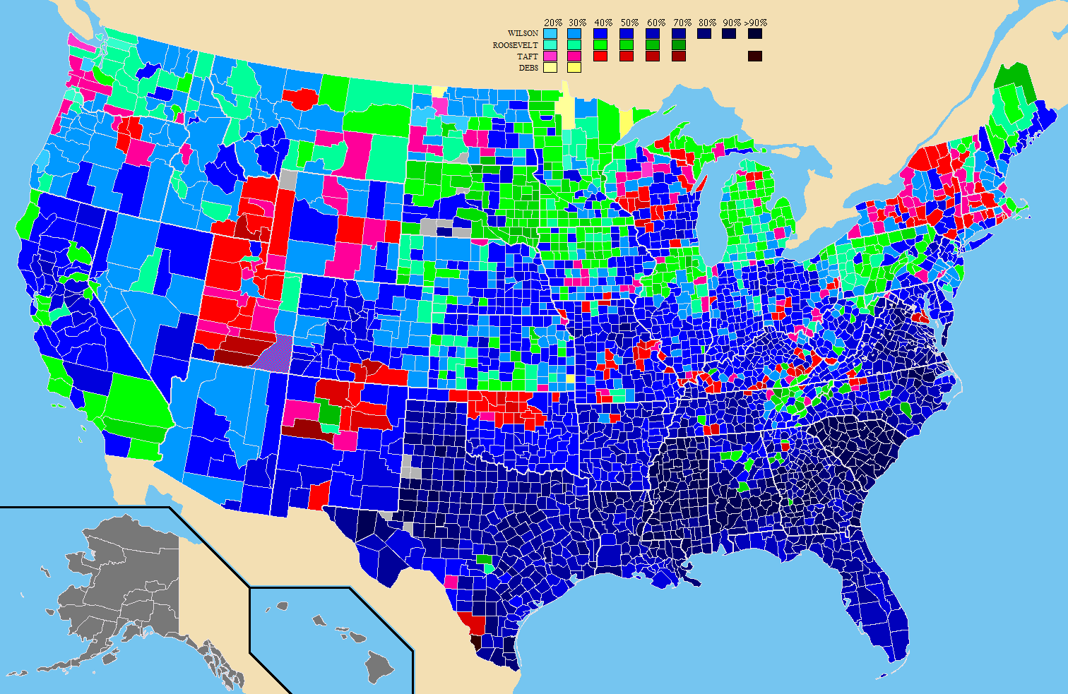 Countylevel results of the 1912 United States Presidential Election