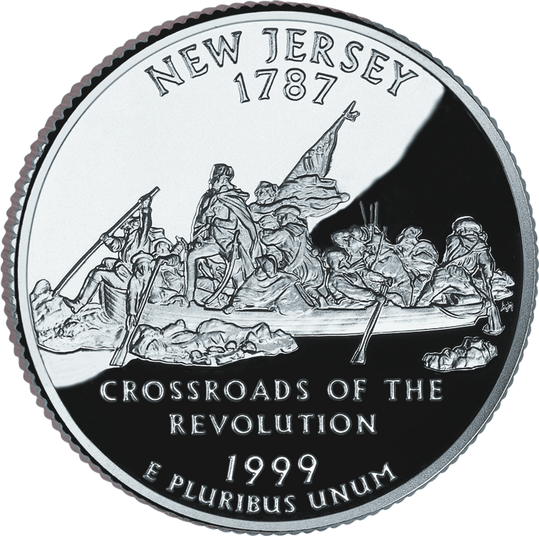The New Jersey State Quarter, released in 1999, with a depiction of Washington Crossing the Delaware.