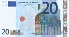 Billet de 20 Euros-with defined print code place