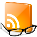 eyeglasses underneath orange RSS chiclet icon