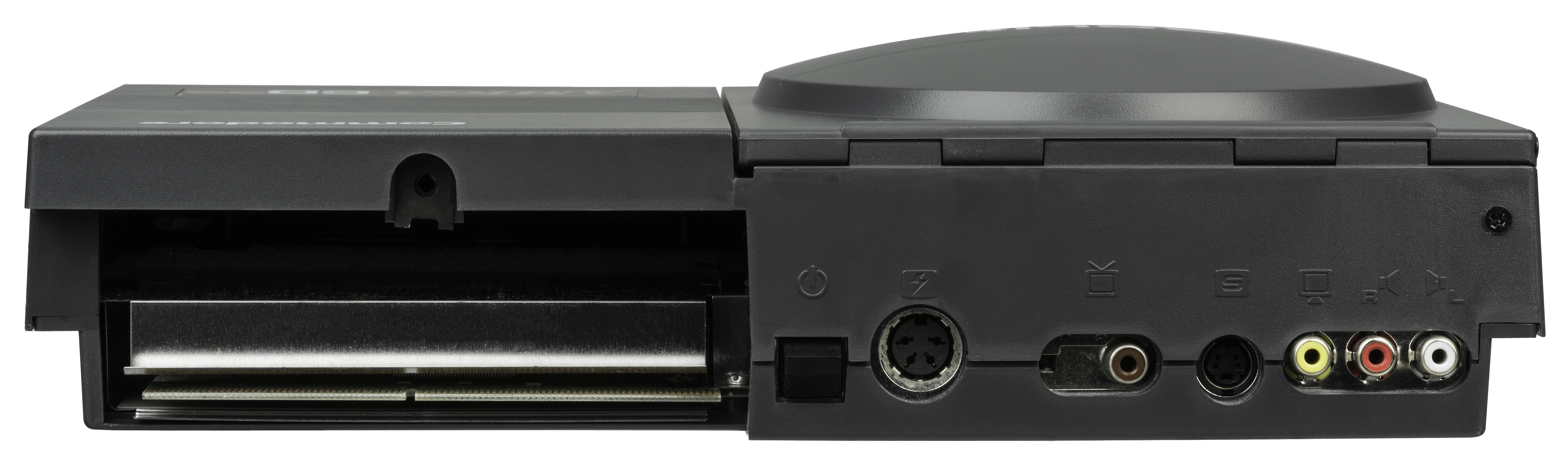 unconventional power supply for a game console, but also comes with a large expansion slot that can be used for add-ons that make it more like a traditional Amiga computer