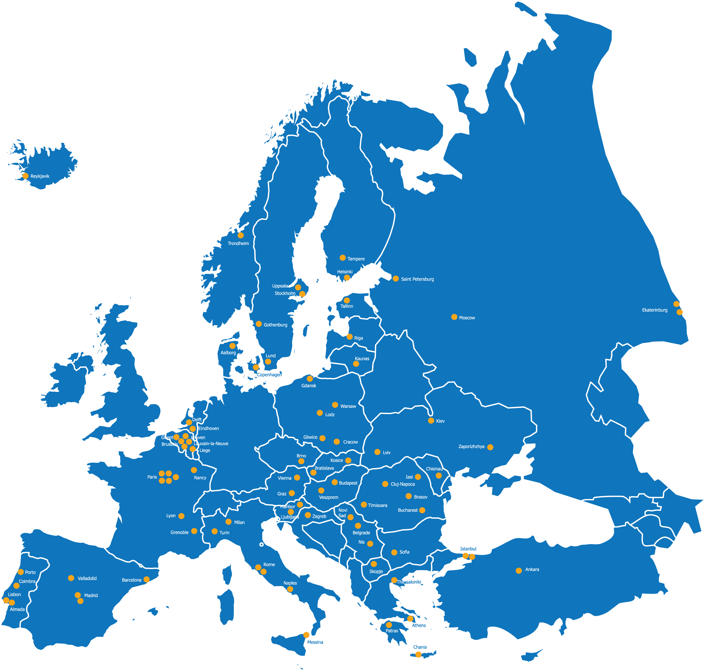 File BEST map of Europe with townnames Wikimedia mons
