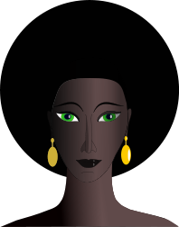 English: black woman with green eyes