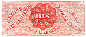 Ten-dollar note from Banque des citoyens de la Louisiane, 1860