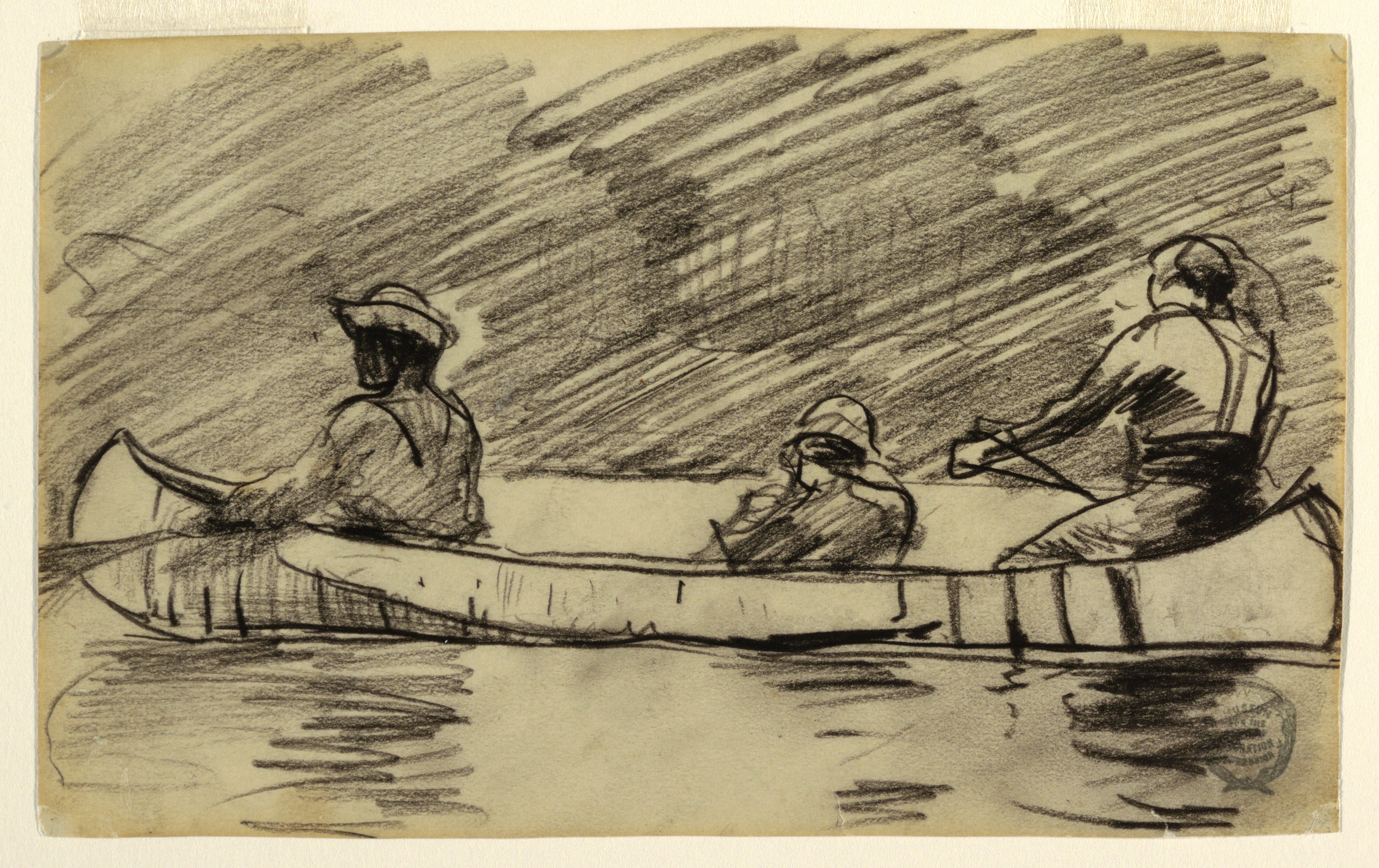FileDrawing Canoe With Three Men Probably 1897 CH 18175107