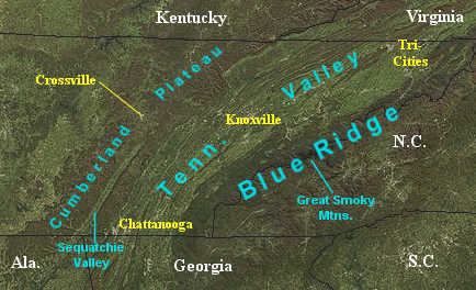 East Tennessee Wikipedia - Map of east tn
