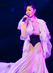 picture of Faye Wong at a concert in Hong Kong