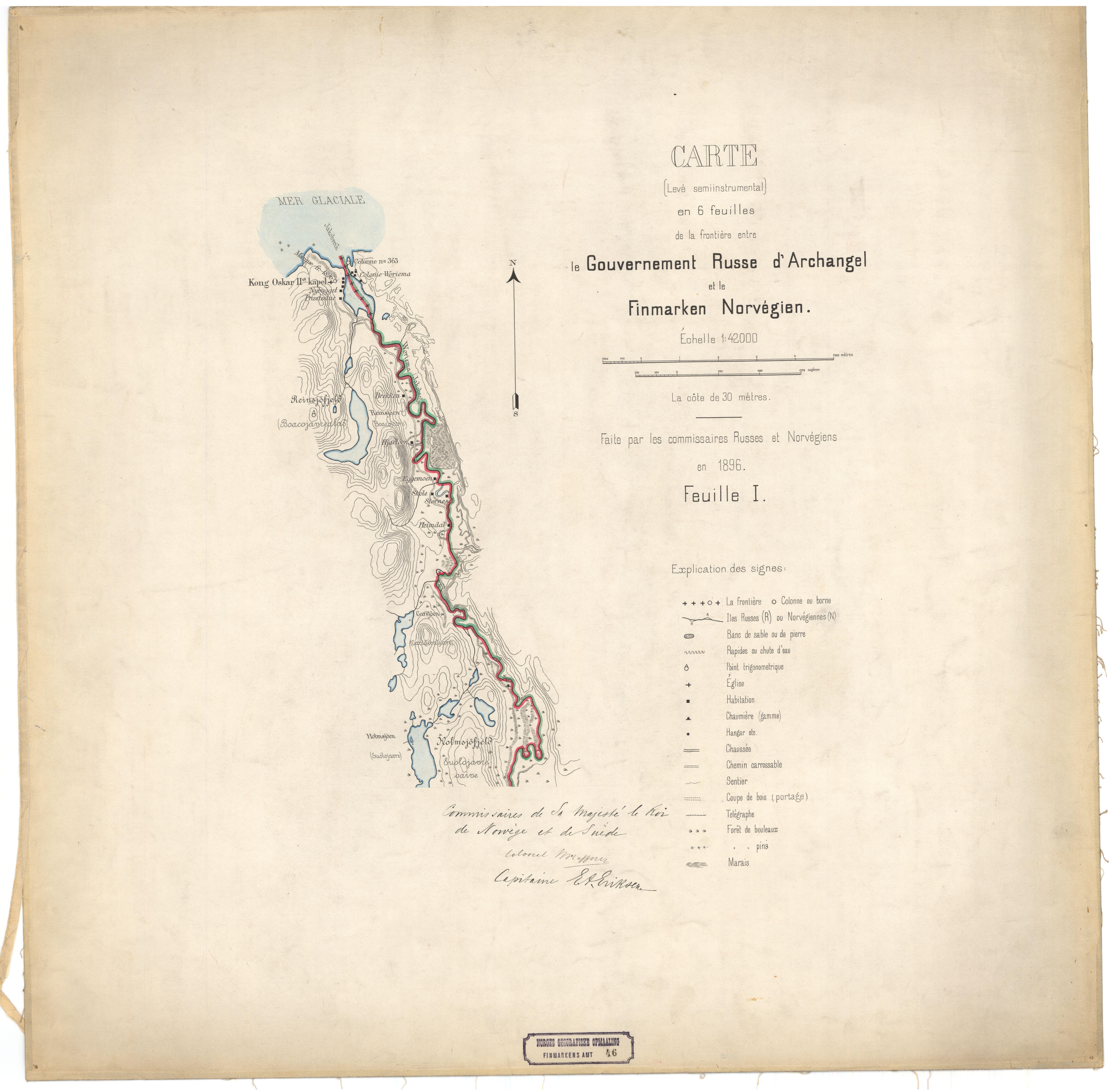 o kart norge File:Finnmarkens amt nr 46 1  Kart over Grændsen mellom Norge og  o kart norge