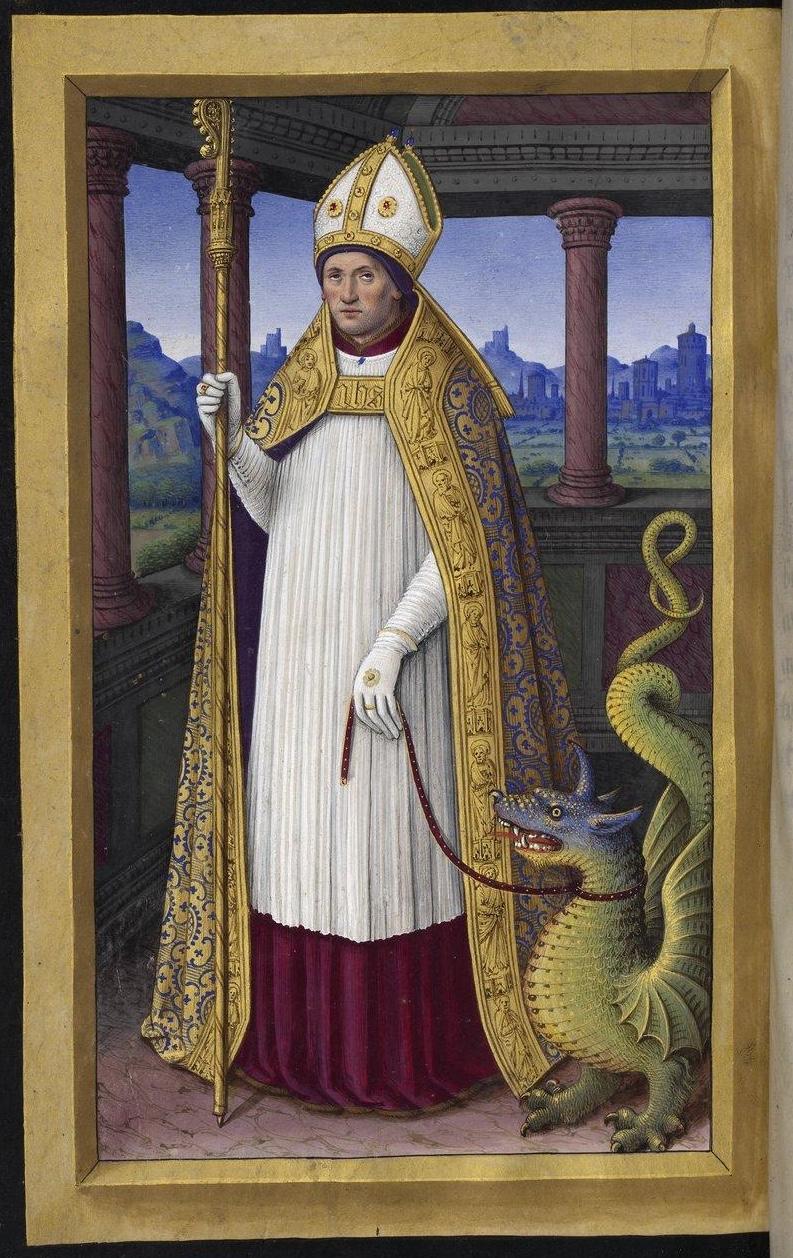 Jean Bourdichon (ca 1457-1521): Lifardus med dragen, fra Grandes Heures d'Anne de Bretagne (ca 1503-08)