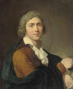 François-Guillaume Ménageot - Self-portrait Of The Artist, Half-length, In A Brown Coat And Abrush In His Right Hand.jpg