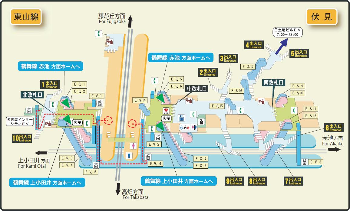 Nagoya Subway Map Pdf.File Fushimi Station Map Nagoya Subway S Higashiyama Line 2014 Png