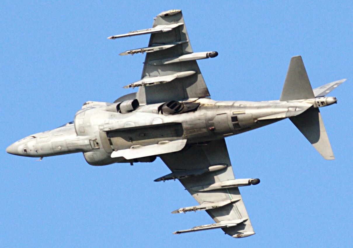 File:Harrier AV8B banking left, revealing underfuselage section.jpg  Wikimedia Commons