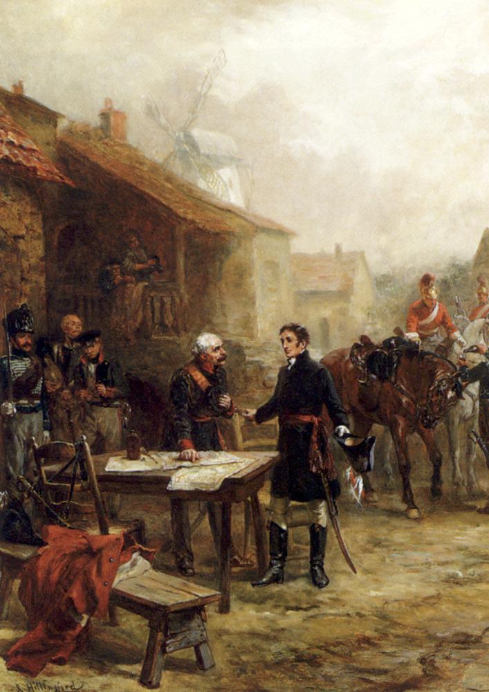 Встреча Хиллингфорда - Веллингтона и Блюхера Перед битвой при Waterloo.jpg