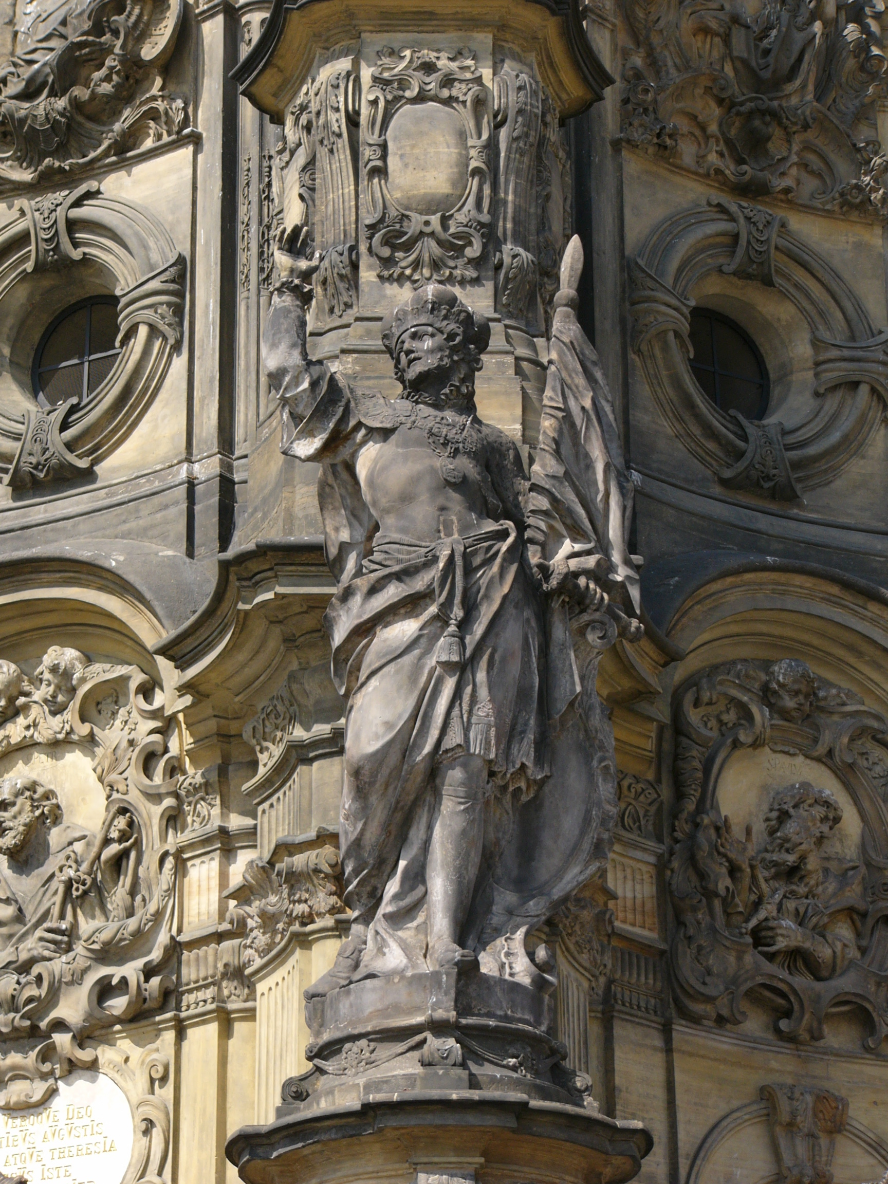 St. Wenceslaus I, Duke of Bohemia. A famous patron saint of the Czech people. Statue at the Holy Trinity Column in Olomouc.