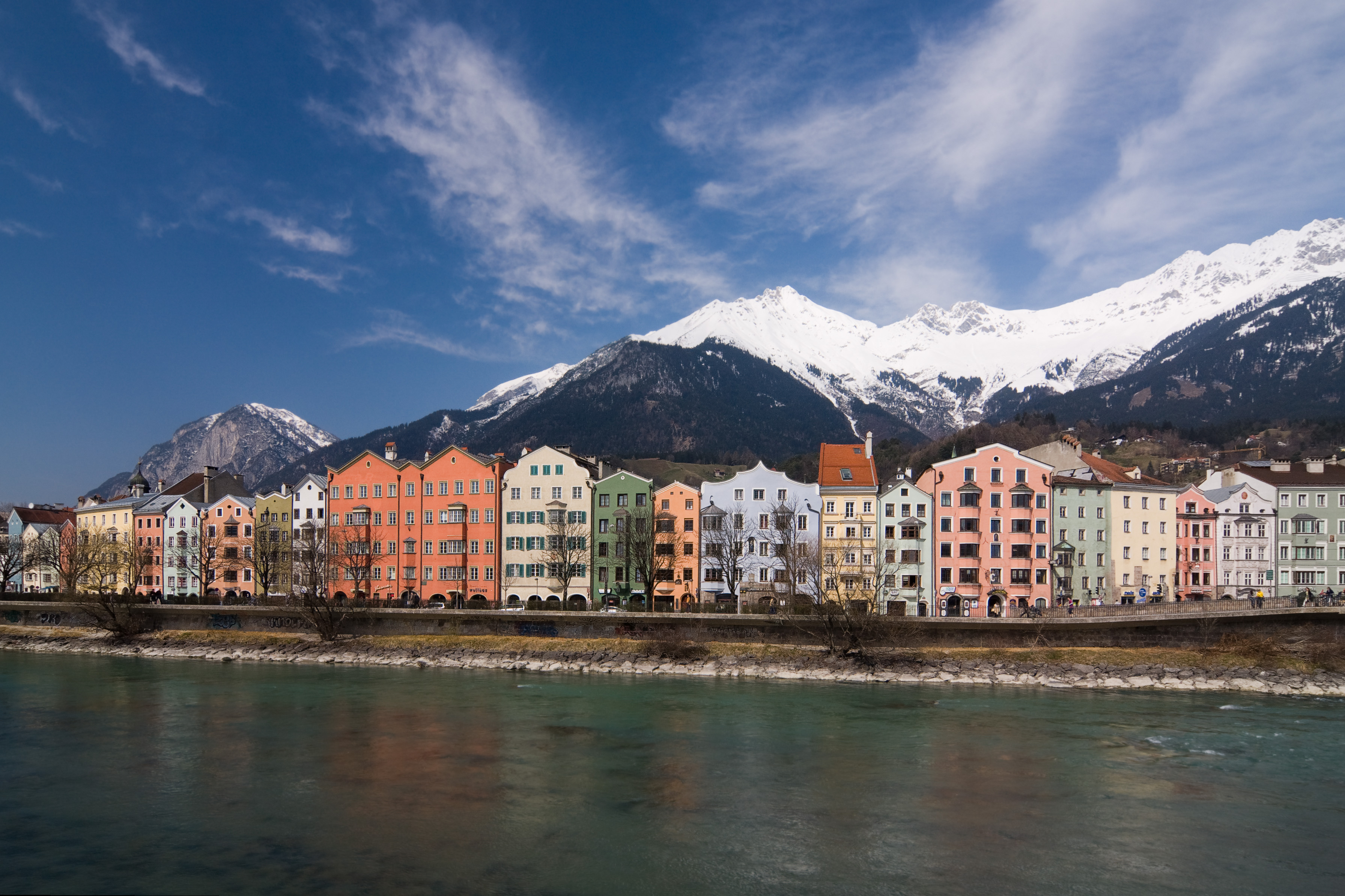 Colourful Innsbruck before the Alps