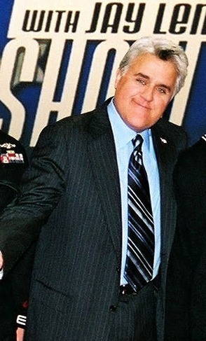 "Jay Leno said in the DVD commentary for ""The Last Temptation of Krust"" that he could not tell whether the writers were poking fun at him or complimenting him. Jaylenocropped.jpg"