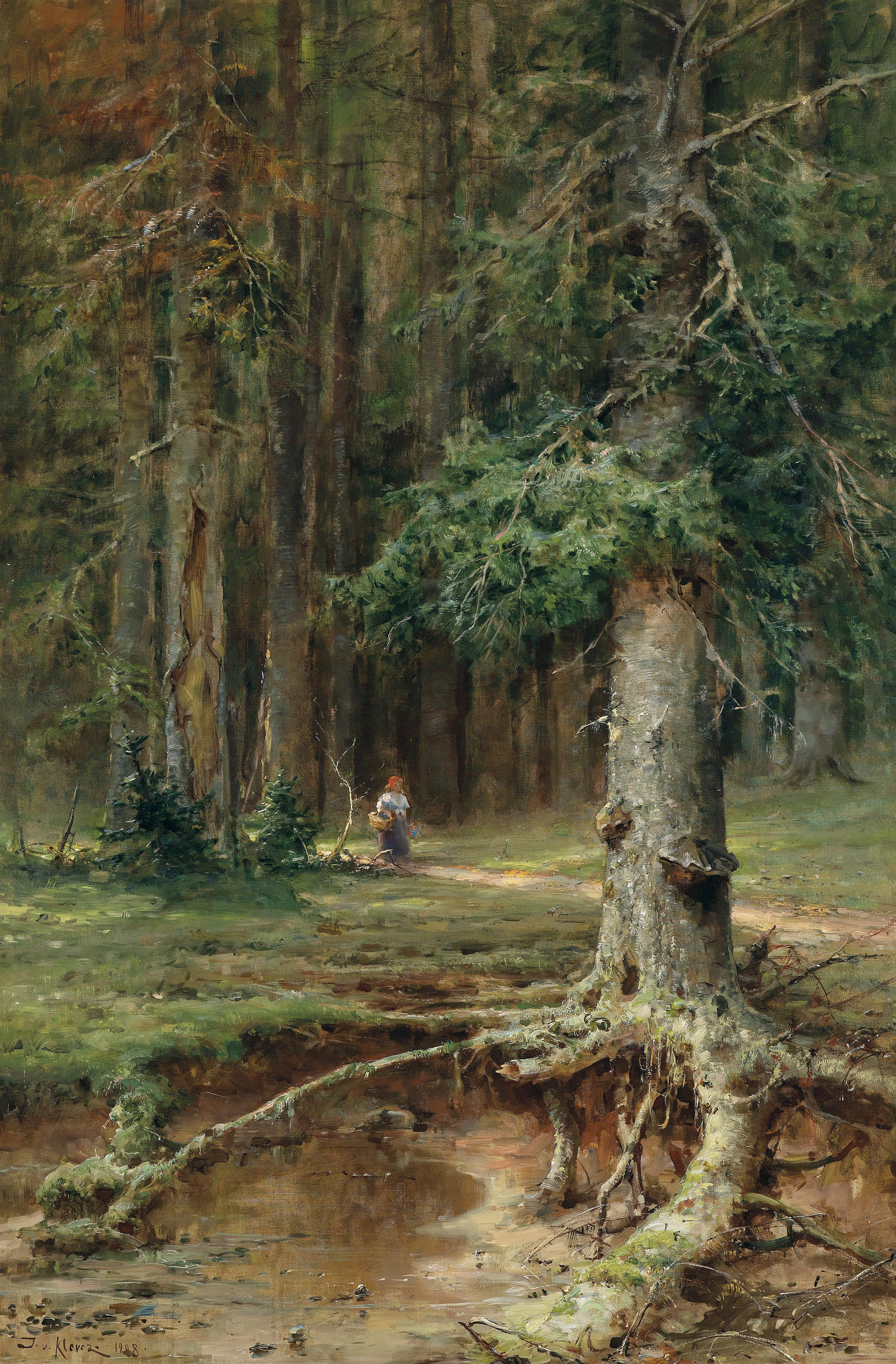 Painting Water Alone Boy On Shore Of Wooded Area