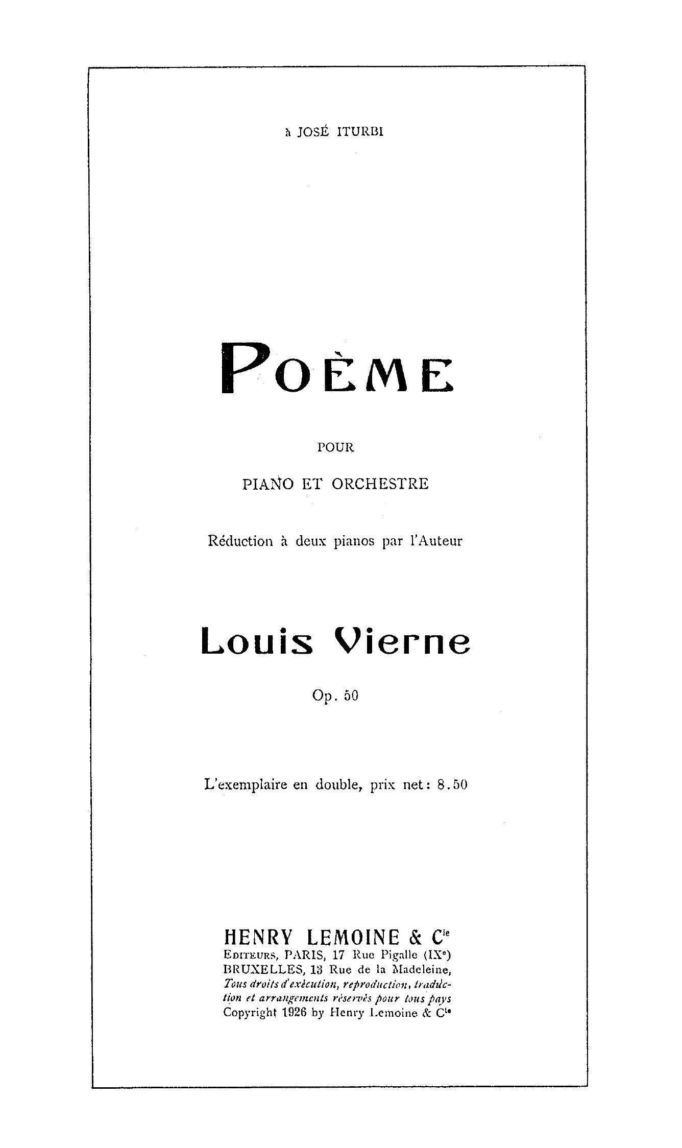 Filelouis Vierne Poème Pour Piano Et Orchestre Page De