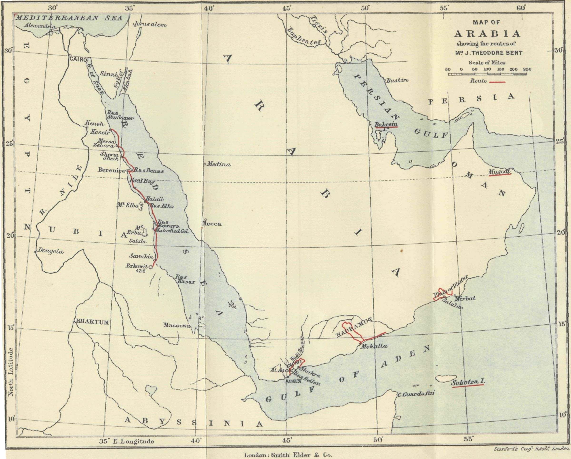 FileMap of Arabia showing route of Theodore Bentjpg Wikimedia – Map of Arabia