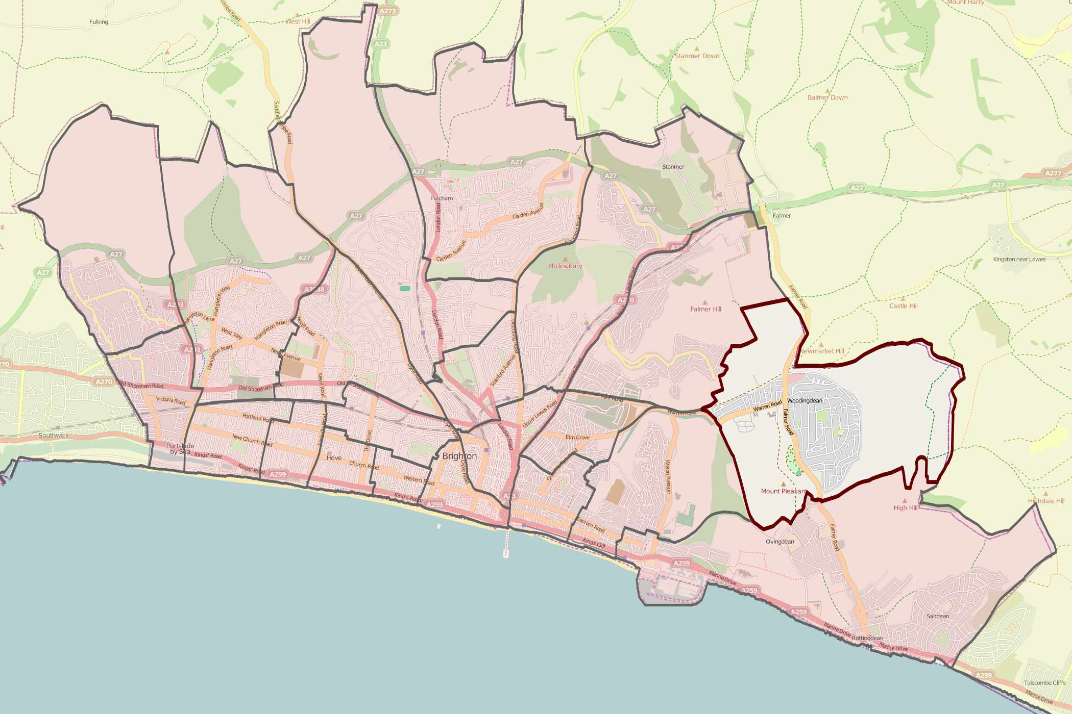 Map Of Brighton And Hove File:Map of Brighton and Hove wards  Woodingdean.   Wikimedia  Map Of Brighton And Hove