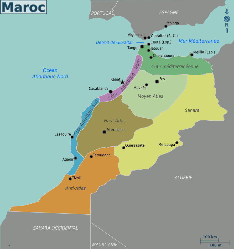 FileMap Of Morocco Frpng Wikimedia Commons - Map of morocco